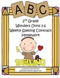 Wonders McGraw-Hill Differentiated 2nd Spelling Homework Units 1-6 (Editable)