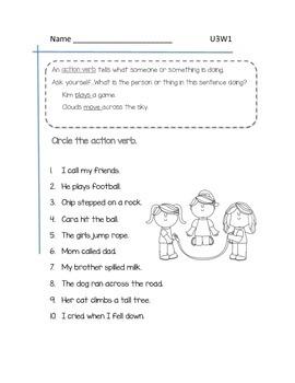 2nd Grade McGraw-Hill Wonders Grammar Practice Unit 3 Week 1/Action Verbs