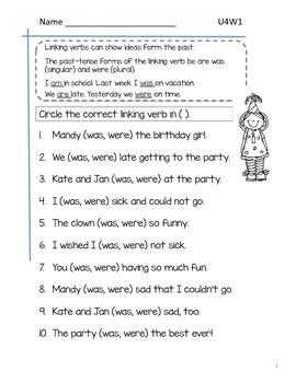 2nd Grade McGraw-Hill Wonders Grammar Practice Unit 4 Week 1 / Linking Verbs
