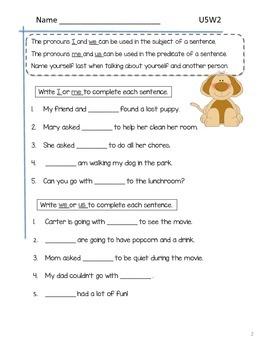 2nd Grade McGraw-Hill Wonders Grammar Practice Unit 5 Week 2 / More Pronouns