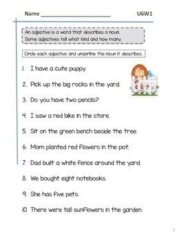 2nd Grade McGraw-Hill Wonders Grammar Practice Unit 6 Week 1 - Adjectives