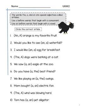 2nd Grade McGraw-Hill Wonders Grammar Practice Unit 6 Week 2 - Articles
