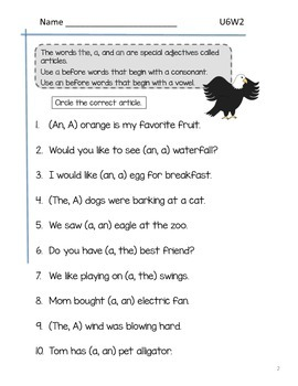 2nd Grade McGraw-Hill Wonders Grammar Practice Unit 6 Week 2 - Articles