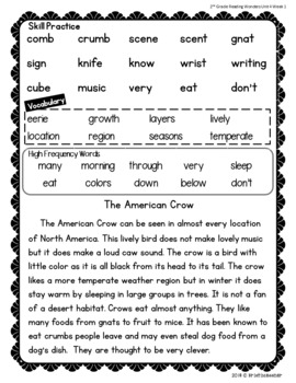 2nd Grade McGraw Hill Wonders Reading Practice Unit 4 Weeks 1-5