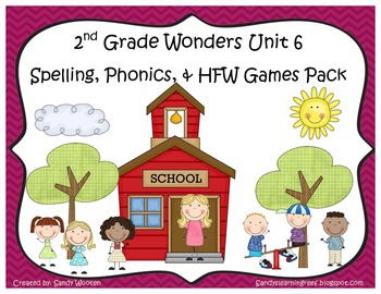Wonders McGraw-Hill 2nd Grade Unit 6 Spelling & Phonics Games (RF.2.3, LCCR.2)