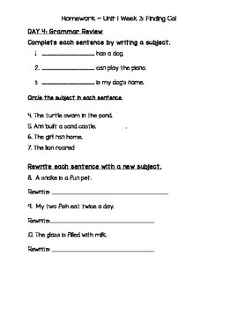 2nd Grade McGraw-Hill Wonders Unit 1 Daily Homework