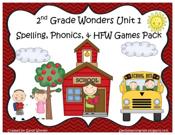 Wonders McGraw Hill 2nd Grade Unit 1 Spelling & Phonics Games (RF.2.3, LCCR.2)