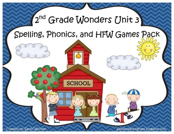 Wonders McGraw Hill 2nd Grade Unit 3 Spelling & Phonics Games (RF.2.3, LCCR.2)