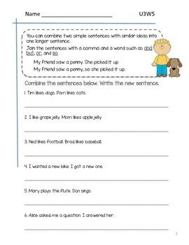 2nd Grade McGraw-Hill Wonders Grammar Practice Unit 3 Week 5 / Combining Sentenc