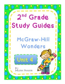2nd Grade McGraw-Hill Wonders Unit 4 Weekly Study Guides