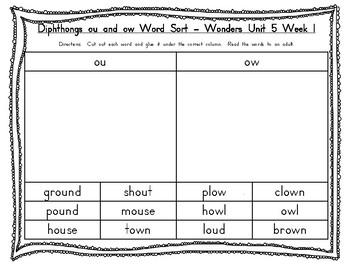 2nd Grade McGraw Hill Wonders Unit 5 Phonics Word Work