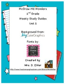 2nd Grade McGraw-Hill Wonders Unit 5 Study Guides