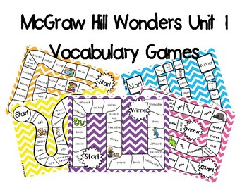 2nd Grade McGraw Hill Wonders Vocabulary Games Unit 1