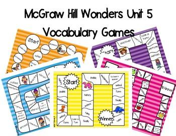 2nd Grade McGraw Hill Wonders Vocabulary Games Unit 5
