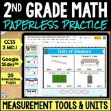 2nd Grade Measurement Tools & Measuring Lengths Google Classroom {2.MD.1}