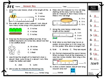 2nd Grade Measuring & Estimating Length Quick Check 2.9E
