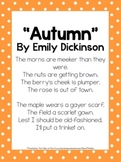2nd Grade Mini Unit Using CCSS Exemplar Text Autumn Poem by Emily Dickinson