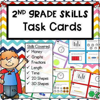 2nd Grade Mixed Skills Task Cards