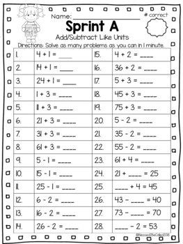 2nd Grade Module 1 Lesson 3 Supplemental Worksheets - Add/Subtract Like Units