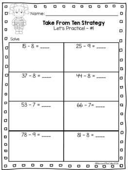 2nd Grade Module 1 Lesson 8 Supplemental Worksheets - Take From Ten