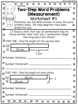 2nd Grade Module 2 Lesson 10 Supplemental Worksheets - 2-Step Word Problem
