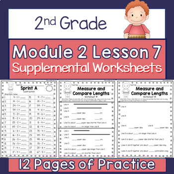 2nd Grade Module 2 Lesson 7 Supplemental Worksheets - Measure and Compare