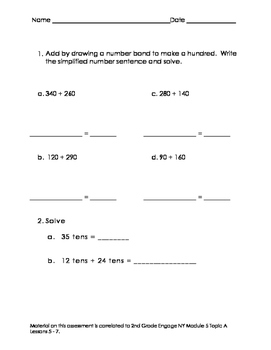 2nd Grade Module 5 Topic A Lesson 5-7 Assessment
