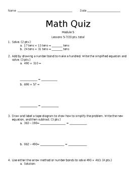 2nd Grade Module 5 Lessons 5-7 Quiz