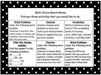 2nd Grade Money Choice Board