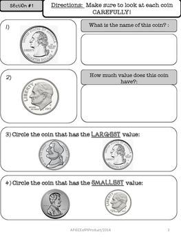 2nd Grade Money Pre/Post Assessment