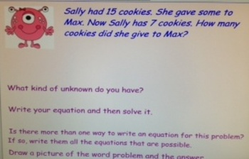 2nd Grade Common Core Word Problems 2.OA.1 with Monster Math SMARTboard