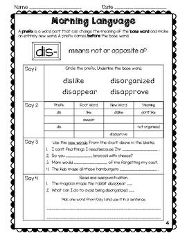 2nd Grade Morning Language: Focus on Prefixes, Suffixes & Grammar Skills!