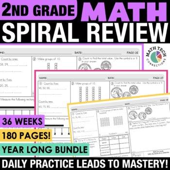 2nd Grade Morning Work | 2nd Grade Math Spiral Review or Math Warm Ups