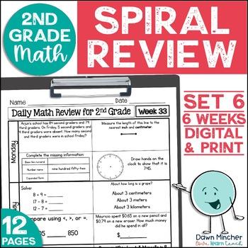 2nd Grade Morning Work | 2nd Grade Spiral Math Review | Set 6 (6 weeks)