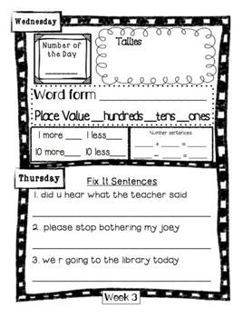 2nd Grade Morning Work Journal Set 1 [first 10 weeks]