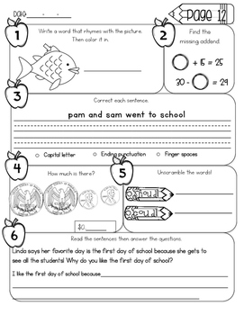 2nd Grade Morning Work - September