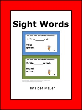 Sight Words Task Cards Morning Work