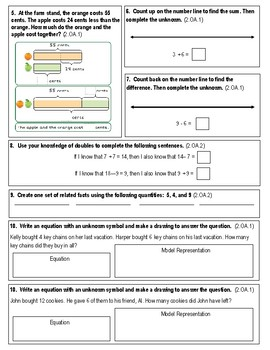 2nd Grade My Math Test Chapter 1 Apply Addition and Subtraction Concepts