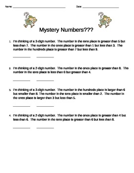 2nd Grade Mystery Numbers
