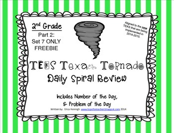 2nd Grade NEW TEKS TX Tornado Spiral Review & POD Part 2:Set 7 ONLY Freebie!