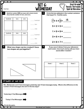2nd Grade NEW TEKS TX Tornado Spiral Review & Prob of the Day Part 1: Sets 1-6
