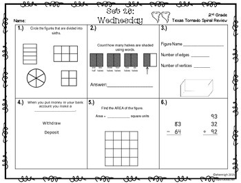 2nd Grade NEW TEKS TX Tornado Spiral Review Pt 5-Sets 25-30