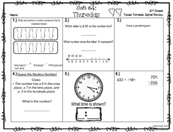 2nd Grade NEW TEKS TX Tornado Spiral Review Pt 6-Sets 31-36