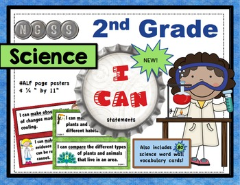 """2nd Grade NGSS Science """"I Can"""" Posters and 72 Vocabulary Cards"""