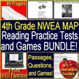 4th Grade NWEA MAP Reading Test Prep Practice Assessments and Math Games Bundle!