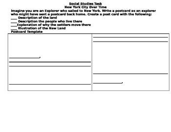 2nd Grade NYC Social Studies Task Card