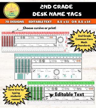 2nd Grade Editable Name Plate with Math Helpers (2 sizes)