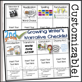 2nd Grade Narrative Writing Checklist~ EDITABLE