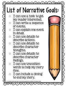 2nd Grade Narrative Writing Goals and Resources