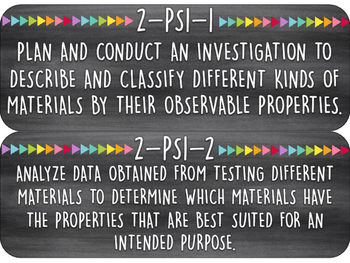 2nd Grade Next Generation Standards | Science Wall Cards | Black Edition